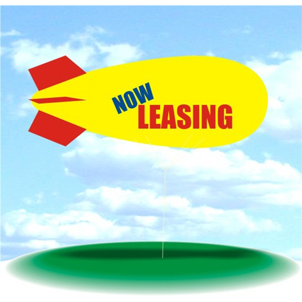Helium Blimp Display - PVC 17' helium display blimp, indoor/outdoor use, NOW LEASING. Tethered blimps.