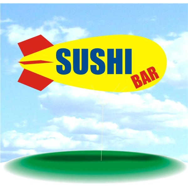 Helium Blimp Display - PVC 17' helium display blimp, indoor/outdoor use, SUSHI BAR design.
