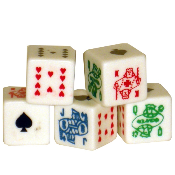 "5/8"" Custom Imprinted Poker Dice With Your Logo On The Ace Side! Photo"