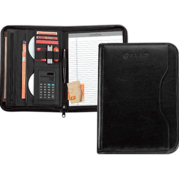 Vanguard - Leather Calculator Padfolio With Exterior Pocket For Files Photo