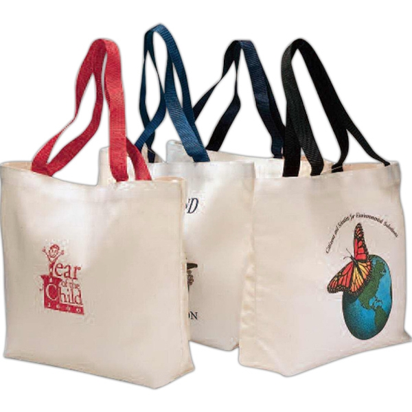 "Red - Colored Handle Tote Bag With 21"" Reinforced Webbed Shoulder Straps Photo"