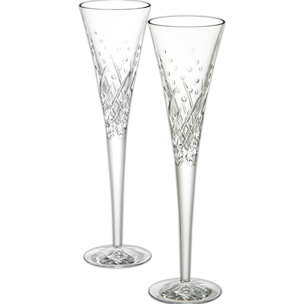 Waterford Wishes Happy Celebrations Flutes, Pair