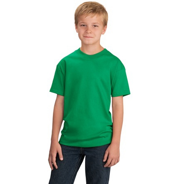 Port & Company (r) - Darks - Youth 5.4 Oz. 100% Cotton T-shirts, No Frills, Tagless Label, Coverseamed Neck Photo