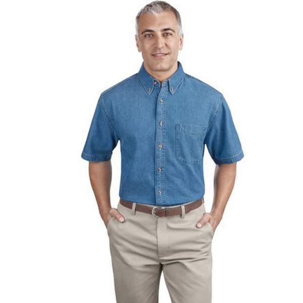Port & Company (r) -  X S -  X L Denim - Short Sleeve 6.5 Oz. Garment Washed Cotton Denim Button-down Shirt Photo