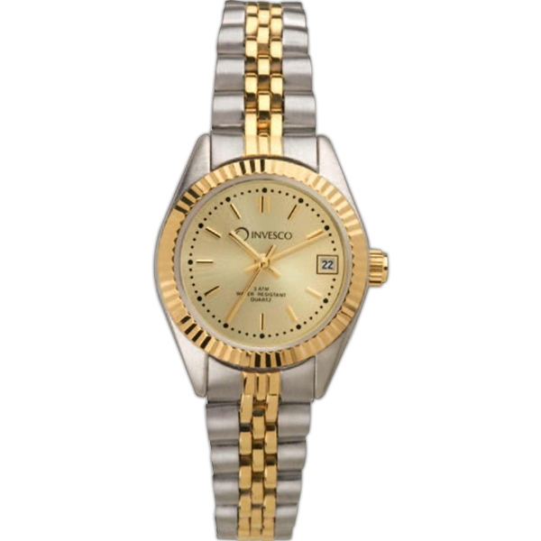 Ladies' - Water Resistant Two Tone Watch With Date Display And Brass Case Photo