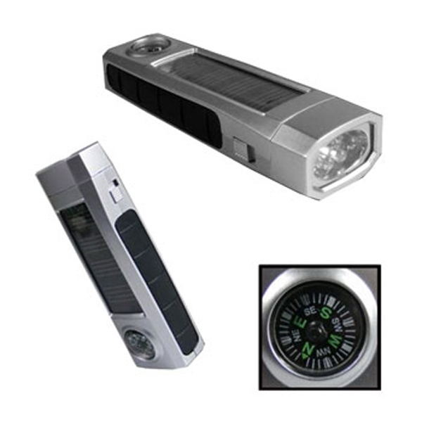 Overseas, Solar Powered Flashlight With Compass Photo