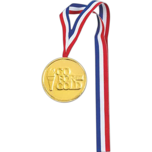 Medallion shape chocolate with ribbon