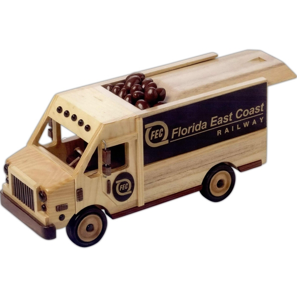 Imported Empty Wooden Collectible Delivery Van With Sliding Lid Photo