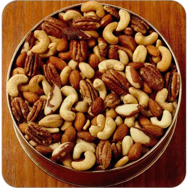 Mix Nuts (no Peanuts) In A Round Designer Gift Tin Photo