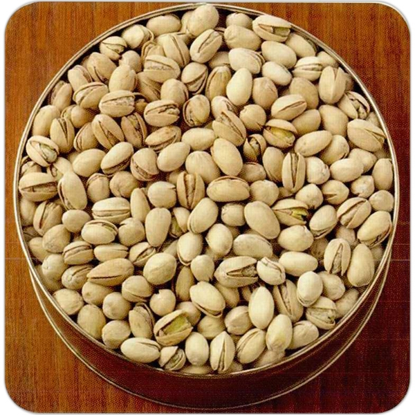 "Natural Pistachios In A Round 7 3/16"" X 2 5/8"" Designer Gift Tin Photo"