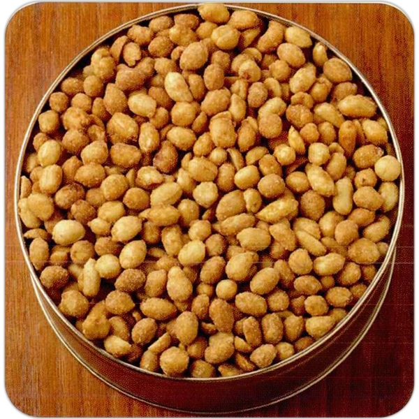 "Honey Roasted Peanuts In A Round 7 3/16"" X 2 5/8"" Designer Gift Tin Photo"