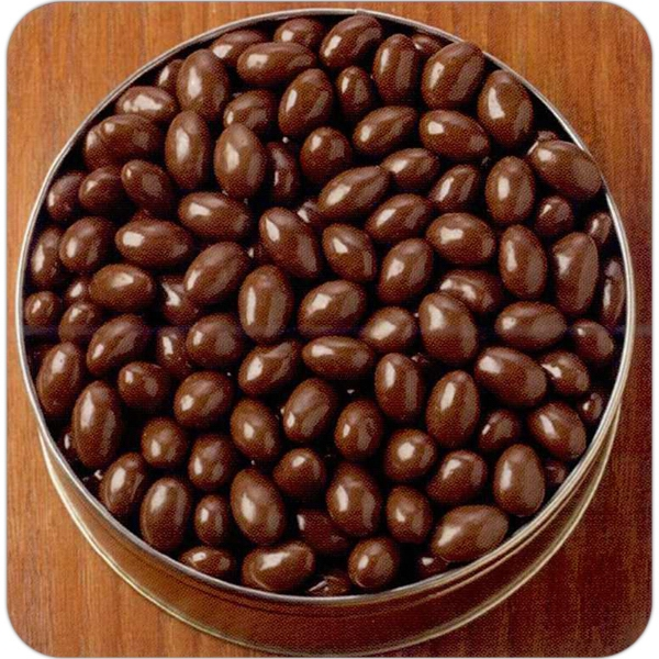 "Chocolate Covered Almonds In A Round 7 3/16"" X 2 5/8"" Designer Tin Photo"