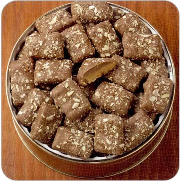 "English Toffee Designer Gift Tin.; 6 11/16"" X 1 13/16"" Dimensions; 16 Oz Photo"