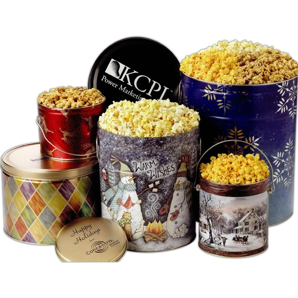 "Three Way Popcorn Sampler In 10 1/4"" Dia X 7 1/2"" H Designer Tin Photo"