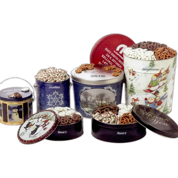 "Yogurt And Chocolate Pretzels Combo In A 7 3/16"" X 2 5/8"" Designer Tin Photo"