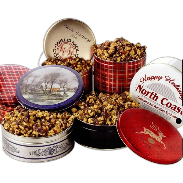 Designer Gift Tin Filled 18 Ounces With Chocolate Covered Caramel Popcorn Photo