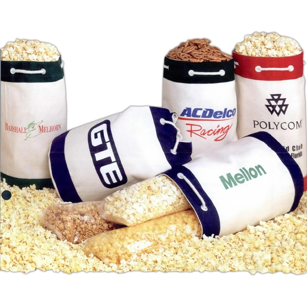 Canvas Duffel Bag Filled With Cheese Popcorn, Imported Item Photo