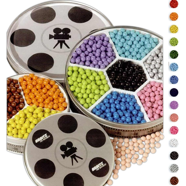 Sixlets In Small Movie Reel Tin With Three Colors. Net Weight: 1 Lb. 2 Oz Photo