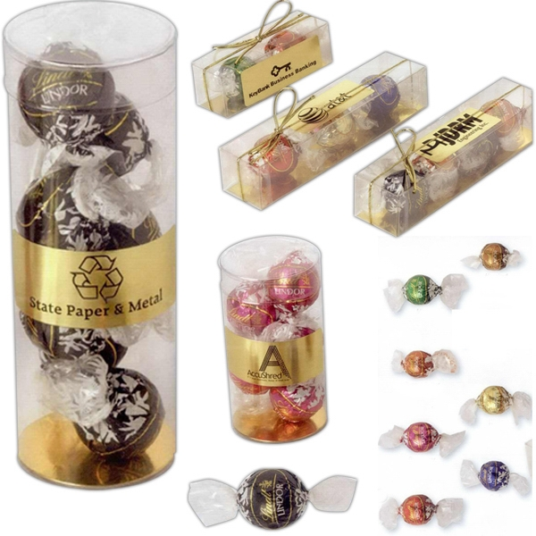 "Lindt Lindor - 3 Individually Wrapped Balls In Clear Box. Box Size: 6 1/16"" L X 1 1/4"" W X 1 1/8"" H Photo"