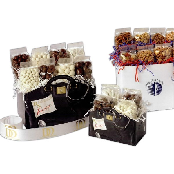 Black & White - Blank Solid Color Small Gift Box With Chocolate Almonds, Yogurt Pretzels And More Photo