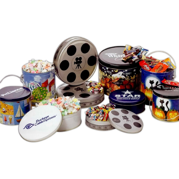 Designer Tin Filled With Individually Wrapped Assorted Salt Water Taffy Candy Photo
