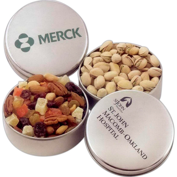 "5 Ounces Net Weight Deluxe Mixed Nuts (no Peanuts) In Round 4 1/16"" X 1 1/4"" Tin Photo"