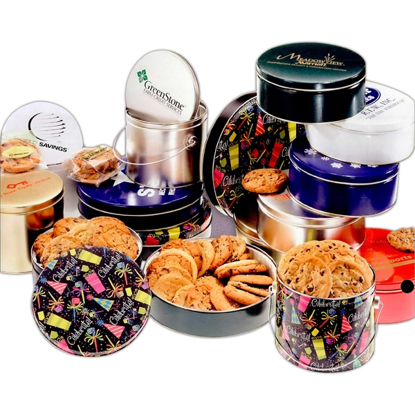 Designer Gift Tin With 18 Assorted Cookies Photo