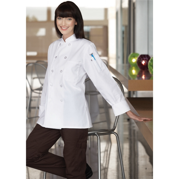 Napa -  X S- X L - Women's Poly Cotton Twill Chef Coat With Flared Bottom And Side Slits. Blank Photo