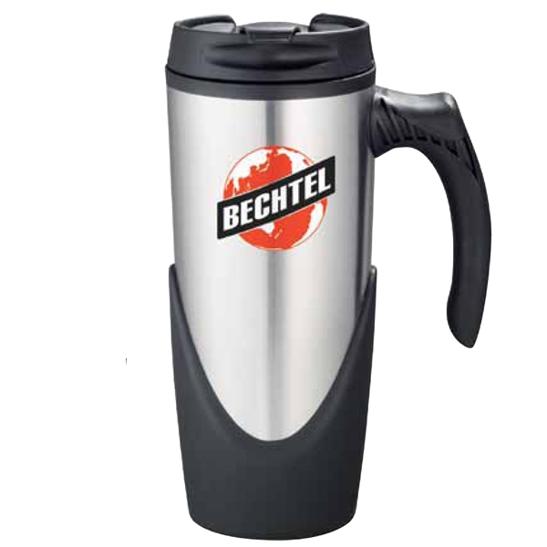 High Sierra (r) - Stainless Steel Travel Mug With Plastic Liner, 16 Oz. Flip-top, Locking Lid Photo