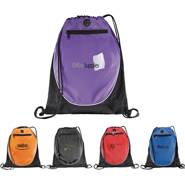 Peek - Drawstring Cinch Backpack With Earbud Port, Zippered Pocket And Mesh Trim Photo