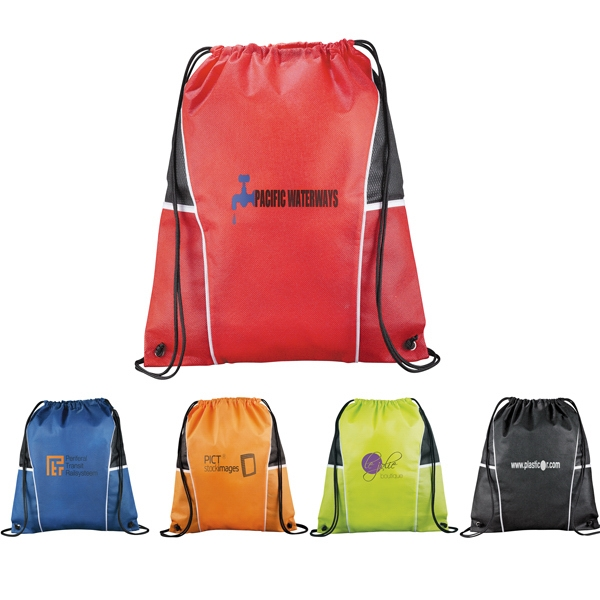 Diamond - Drawstring Cinch Backpack Includes Open Top Pockets On Each Side Photo