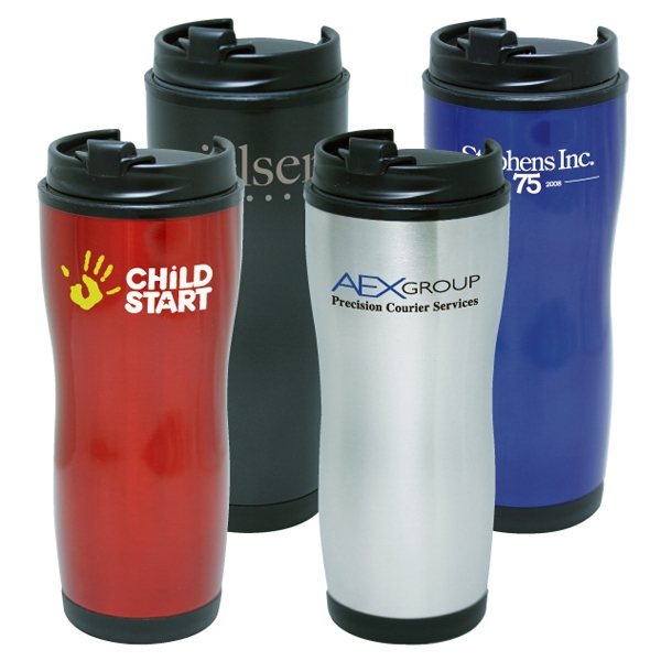 16 Oz Double Wall Stainless Steel Tumbler With Plastic Liner Photo