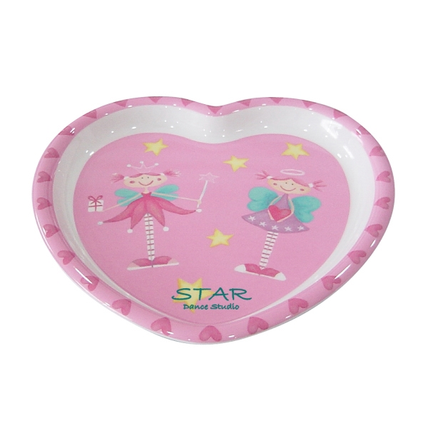 Melamine Heart Shaped Plate With Rim Photo
