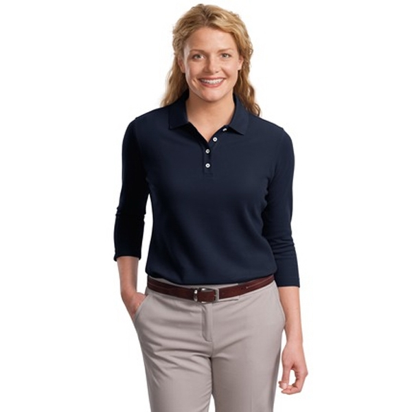 Ezcotton (tm) Port Authority (r) -  X S- X L - Ladies' Cotton Pique Polo Shirt 3/4 Sleeve Photo