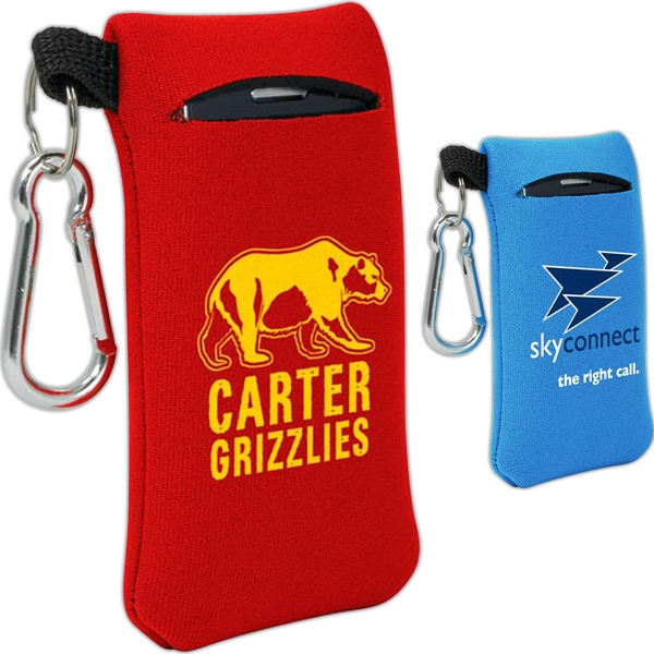 Small Mobile Accessory Holder Of Neoprene With Key Ring Loop And Carabiner Clip Photo