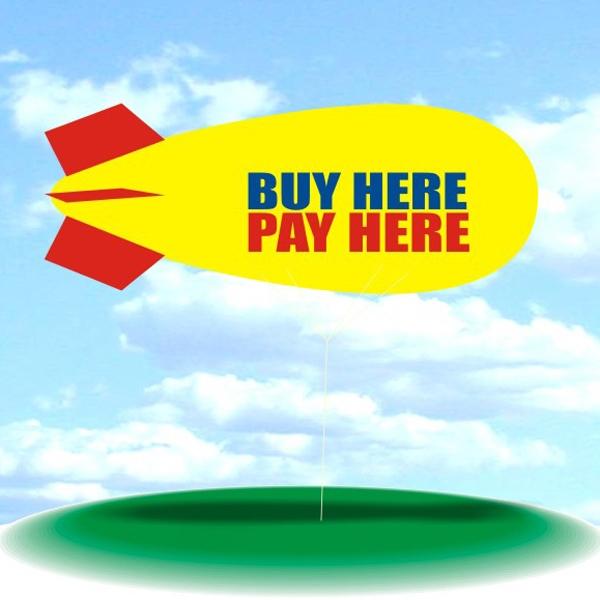 Helium Blimp Display - PVC 17' helium display blimp, indoor/outdoor use, BUY HERE PAY HERE design.