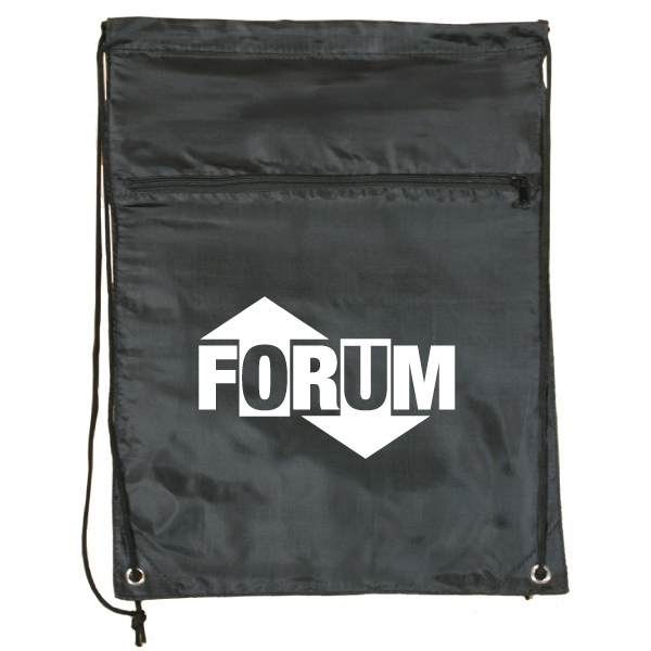 Black - Drawstring Tote Bag With Zippered Front Pocket Photo