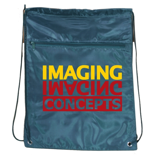 Green - Drawstring Tote Bag With Zippered Front Pocket Photo