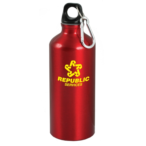 Polaris - Red - 24 Oz Aluminum Sport Bottle With Carabinier Photo