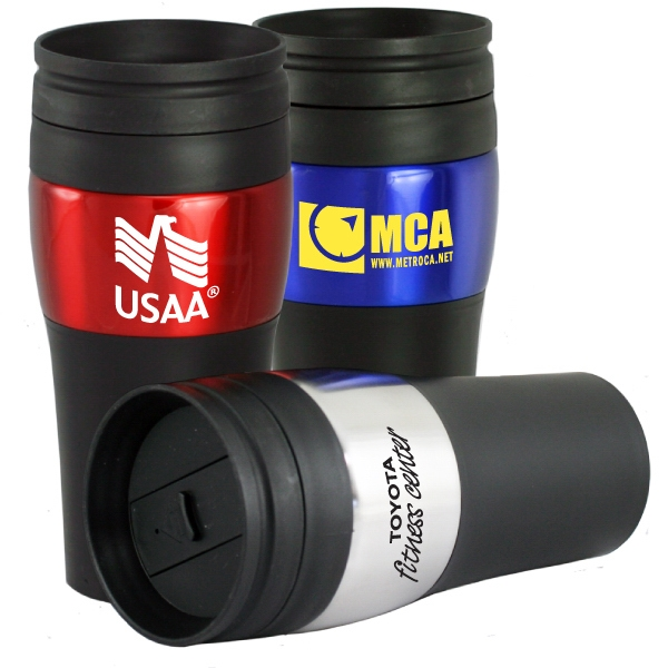 The Roaster - 14 Oz. Double Wall Travel Tumbler With Stainless Steel Outer Shell And Plastic Liner Photo