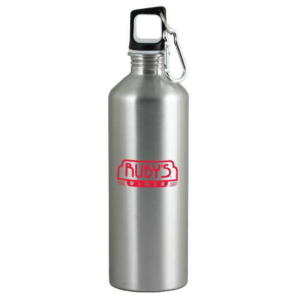 The Latitude - Silver - 26 Oz Stainless Steel Sport Bottle With Metal Carabiner And Rubber Lid Photo