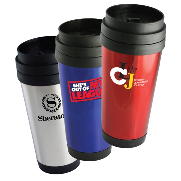On-the-go - 16 Oz. Double Wall Stainless Steel Travel Tumbler With Plastic Lid Photo