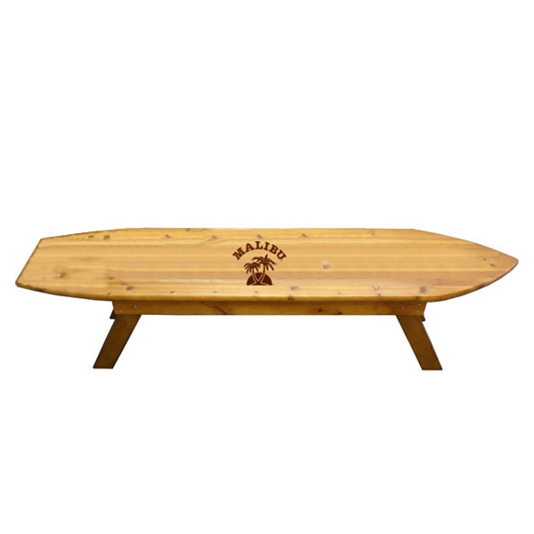 surf board shape bench bnoticed put a logo on it the promotional