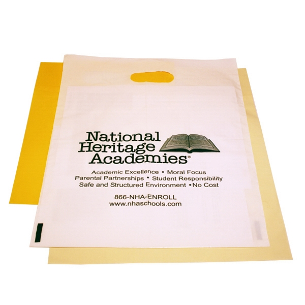 "Die Cut Handle White Bag, 12"" X 15"" Photo"