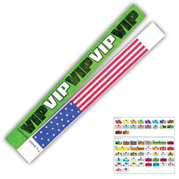 "Pre-printed Strong Band Tyvek Wristband, 1"" X 10"". Green Stripes. Blank Photo"