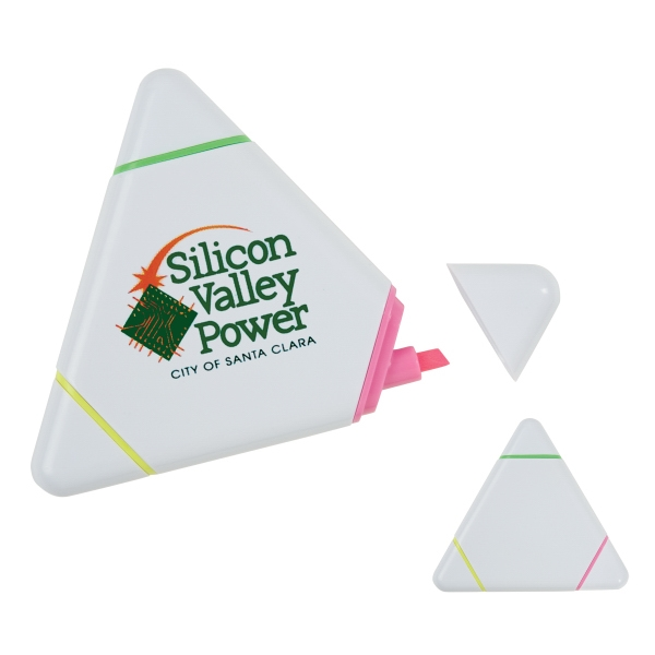 Triangle Shaped Highlighter With 3 Bright Neon Colors At Each Point Photo
