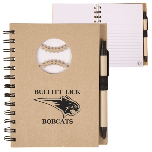 Ecoshapes (tm) - Recycled Hard Cover Notebook With Die Cut Baseball Cover Design Photo
