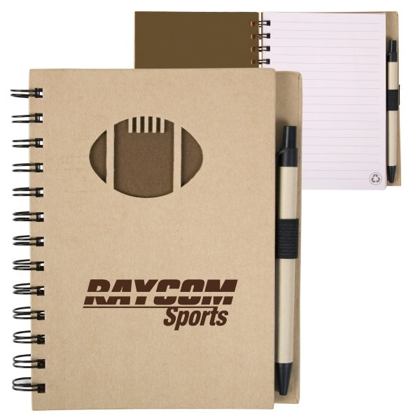 Recycled Hard Cover Notebook With Die Cut Football Cover Design Photo