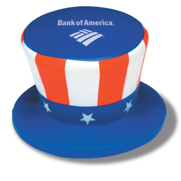 Top Hat Shaped Stress Reliever With Stars And Stripes Design Photo