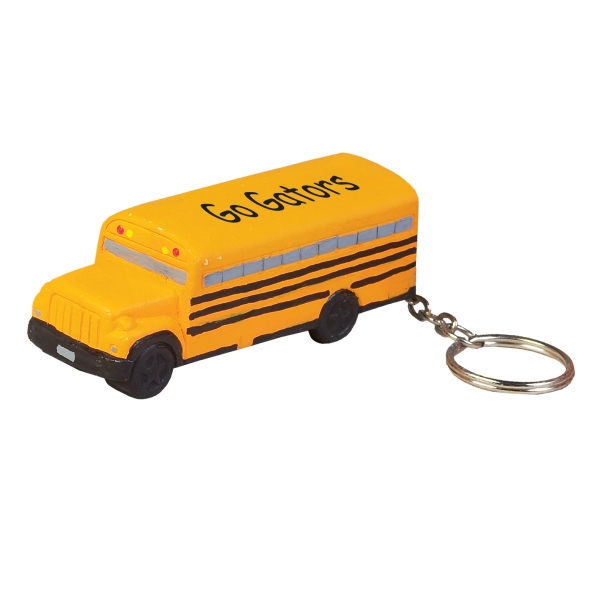 School Bus Shaped Stress Reliever With Keychain Photo